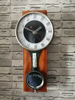 Vintage Wall Quartz Wood Clock MAyak, with Termometer and  Barometer .1975, USSR