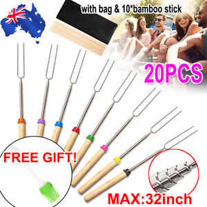 20PCS BBQ Barbecue Marshmallow Roasting Sticks Telescoping Fork Smores Skewers