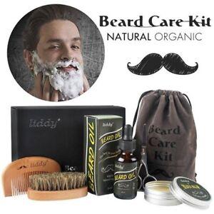 AU 5Pcs/Set Beard Care Kit Comb Brush Oil Balm Bristle Mustache Grooming Set