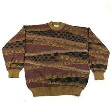 Vintage Pronto Uomo Sweater Jumper Mens L 52 Brown Purple Leather Striped Wool