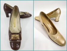 Vtg 60s Shoes 1960s Pumps High Heels Lot of 2 - size 6.5