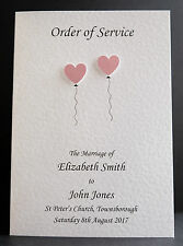 10 Handmade Personalised Order of Service Front Covers *23 Colours*