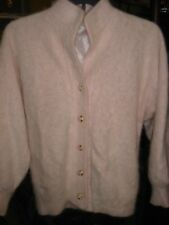 Women's Exclusively Misook Baby Pink Angora Blend Cardigan Sweater Medium