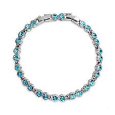 Round Aquamarine Crystal Tennis Bracelet White Gold Plated Extended Clasp