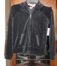 BNWTS Juicy Couture KIDS HOODIE VELOUR ZIPPERED SWEAT JACKET BLACK XS (6)