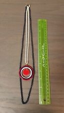 Art Deco Red White and & Blue Circle Disc Geometric O Ring Necklace - patriotic