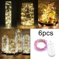 6 Pack 20 LED Battery Micro Rice Wire Copper Fairy String Lights Party 2M US