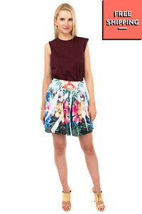RRP €125 LORNA Flare Skirt Size S Perforated Floral Fully Lined Made in Italy