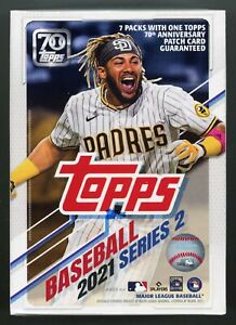 2021 Topps Baseball SERIES 2 SEALED BLASTER BOX 7 Packs w/EXCLUSIVE PATCH!!