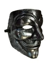 Brushed Silver Guy Fawkes Anonymous V for Vendetta Halloween Costume Mask