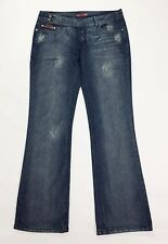 Blue collection W33 L34 46 jeans donna usato blu vita bassa zampa bootcut T1299