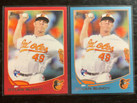 Dylan Bundy RC Lot(2) 2013 Topps #78 Red & Blue Parallels Baltimore Orioles