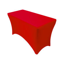 YCC - Spandex 4 Ft Rectangular Table Cover Red, Fitted Stretch Tablecloth