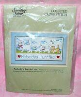 New Something Special Nobodys Purrfect Cross Stitch Kit Kitty Cats Butterflies