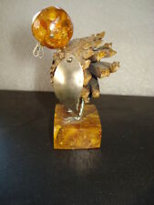 VINTAGE OLD NATURAL BALTTIC AMBER PRIMITIVE BIRD CONE FIGURINE