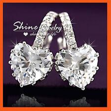 18K GOLD GF E228 HEART DIAMOND CRYSTAL GIFT HOOP HUGGIES LADIES SOLID EARRINGS