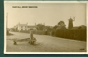 GEDNEY DROVE END,PUMP HILL WITH WINDMILL,CAMBRIDGESHIRE,vintage postcard