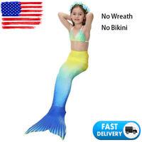 Child Kids Girl Mermaid ish Tail (No Monofin) Swimmable Tail Swimming Swimwear