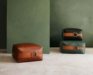 Square Poufs, leather Moroccan pouf. Handmade ottoman pouf, Footstool Pouffe