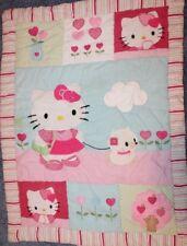 "Hello Kitty Baby Quilt Blanket Pink Crib Comforter 28x38"" Rare Nice Lambs Ivy"