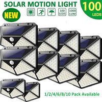 100LED Solar Lights Motion Sensor Security Deck RV Yard Fence Patio Wall Lamp US