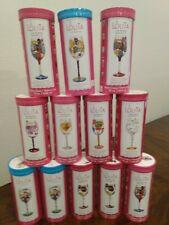 12 Lolita Hand Painted Wine Glasses, Birthday, Thankyou, Cheers, Etc.
