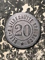U/D Braubach Germany Blei u. Silber. 20 Pf. Private Notgeld Token (1 Coin Only)