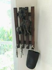 Key Wall Hanging 4 Hooks Wood Thai Elephant Holder Office Home Decor Souvenir