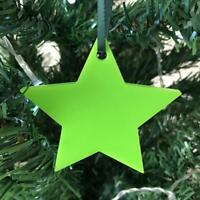 10 x Star Shaped Christmas Tree Decorations & Satin Green Ribbon Various Colours