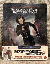 RESIDENT EVIL RETRIBUTION 3D 2D blu ray STEELBOOK [KOREA] w/J-SLIP NEW MINT OOP!
