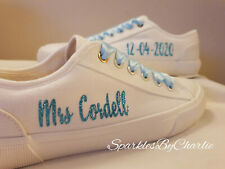Personlised Wedding Shoes, custom wedding shoes, mono white wedding trainers