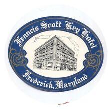 Vintage Hotel luggage label Francis Scott Key Hotel, Frederick Maryland  MINT