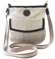 Tommy Hilfiger Damen Tasche Handtasche Crossbody beige silberfarben braun