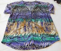 Onque Casuals Elements of Style womens short sleeve Shirt Blouse S small Snap Up
