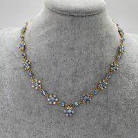 VINTAGE Blue Sparkly Flower Necklace Gold Tone Chain Retro Collar Length Kitsch