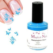 Stamping Lack, Türkis, 15ml, für Konad Schablonen, Anja Beck, Magical-Nails