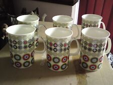 SET OF 6 LOVELY FINE CHINA MUGS, VGC, FREE-MAILING.