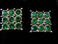 Emerald Green Sparkle Bling Rhinestone 1.5cm Big square stud earrings Xmas Ball