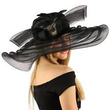 "Elegant Kentucky Derby Floppy Feather Bow 7"" Super Wide Brim Church Hat Black"