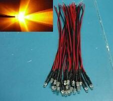 (50 PCS) 3mm Yellow FLASHING Pre Wired LED Light 5v 6v 9v 12V DC Bulb 20cm