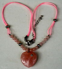 Natural Pink Rose Quartz Heart Pendant Necklace on Pink Bead Cord Reiki Blessed