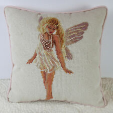 "Vintage Needlepoint Pillow Fairy Angel 13"" Square Pink Romantic"