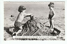 Boy Girl Building Sand Castle Having Fun On The Beach Every Day Real Photograph