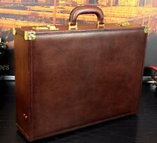 GUCCI Italy Diplomat Hand Burnished Brown Leather Hard Case Briefcase Attache