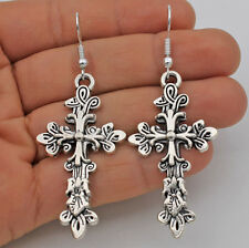 "925 Silver Plated Hook - 2.5"" Vintage Cross Flower Punk Party Earrings Gifts #61"