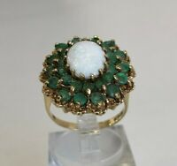 9k solid gold with Opal & Emerald ring 6.21g size P 1/2 -  7 3/4