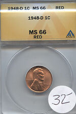 1948-D 1c MS66Red ANACS Business Always Free Shipping!! WHOLESALE DEALER COST!