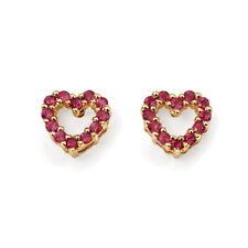 Pendientes de joyería con gemas de oro amarillo de rubí