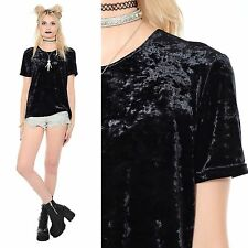 Vintage 90s Black CRUSHED VELVET Crop Top Witchy Goth Grunge Gypsy Shirt