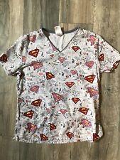 Dc Comics Super Girl Women's Nurse Scrub Top / Size Extra Small
